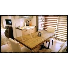 Ağaç Masa 0015 Doğal Ahşap Mutfak Masası